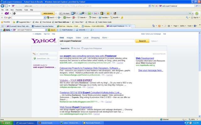 Online Web Expert Freelancer in Yahoo